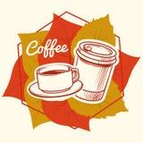 Höstsidor och det kaffekoppen och tagandet bort rånar vektorillustrationen stock illustrationer