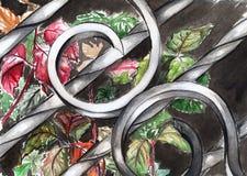 Höstsidor och växter under smidesjärnskyddsgaller Royaltyfri Fotografi