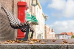 Höstsidor på trottoaren fotografering för bildbyråer