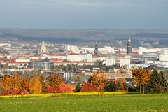 Höstsikt över centret av Dresden royaltyfria foton