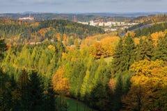 Höstsikt av Nachod, Tjeckien Royaltyfri Bild