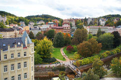 Höstsikten av Karlovy varierar (Karlsbad) Royaltyfria Foton