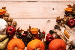 Höstskördar, pumpor, havre, äpplen, päron och frukt royaltyfria bilder