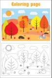 Höstskogen i tecknad filmstil som färgar sidan, utbildningspappersleken för utvecklingen av barn, lurar förskole- aktivitet, prin royaltyfri illustrationer