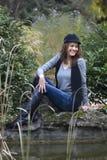 höstskogkvinna Arkivbilder