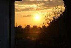 höstskogromania solnedgång Royaltyfria Bilder