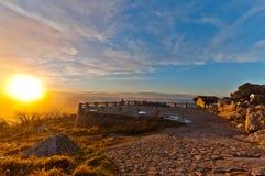 Höstsolnedgång över kullen Royaltyfria Foton
