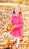 Höststående av den gulliga le lilla flickan med lönnlöv Arkivbild