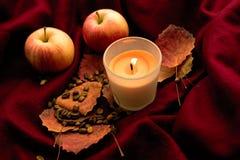 Höststilleben med bränningstearinljuset, äpplen, torkar sidor, kaffebönor, röd pläd Royaltyfri Foto