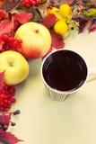 Höststilleben med frukt och en kopp te Fotografering för Bildbyråer