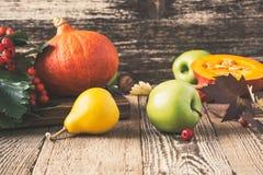 Höststilleben med pumpor och äpplen Nedgångskördbegrepp fotografering för bildbyråer