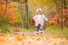 Hösttid, behandla som ett barn lyckliga små, flickan promenerar banan med en bukett av höstsidor Arkivbilder