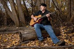 Höstträd och en yrkesmässig gitarrist royaltyfri foto