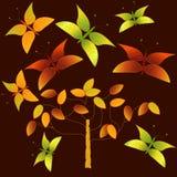 Höstträd och fjärilar omkring Arkivbild