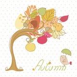 Hösttree och liten fågel stock illustrationer