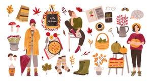 Höstuppsättning - folket som rymmer samlade säsongsbetonade skördar, stupade sidor, gummistöveler, stack sockor, skog plocka svam stock illustrationer