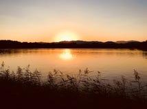 Höstvatten och himmel i Yuanmingyuanen i aftonen royaltyfria bilder