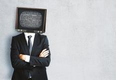 Hövdad man för TV royaltyfria foton
