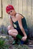 hövdad punk red Royaltyfri Fotografi