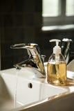 Húndase con agua del runnig y el dispensador del jabón líquido Fotos de archivo