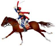 Húsar, Cavalier en un caballo stock de ilustración
