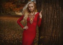 Hübsche blonde Frau, die in einem herbstlichen Park aufwirft lizenzfreies stockbild