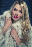 Hübsche Blondine im Wintermantel Lizenzfreies Stockfoto