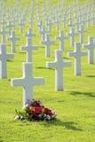 Hübsche Blumen durch Grab des unmarkierten Grundsteins lizenzfreies stockbild