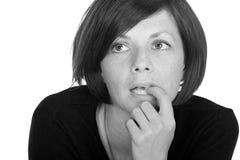 Hübsche Dame Looking Anxious Stockfotografie