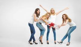 Hübsche Damen, die für Geschenk kämpfen Stockbild