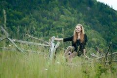 Hübsche Frau auf einem Zaun Stockbilder