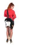 Hübsche Frau in den schwarzen kurzen Hosen, die mit Gitarre aufwerfen Stockbild