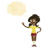 hübsche Frau der Karikatur, die für Aufmerksamkeit mit Gedankenblase wellenartig bewegt Stockfoto