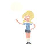 hübsche Frau der Karikatur, die für Aufmerksamkeit mit Gedankenblase wellenartig bewegt Stockfotos