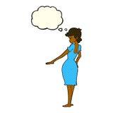 hübsche Frau der Karikatur, die Nägel mit Gedankenblase betrachtet Lizenzfreie Stockbilder