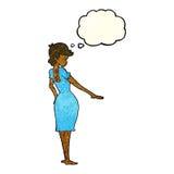 hübsche Frau der Karikatur, die Nägel mit Gedankenblase betrachtet Lizenzfreies Stockbild