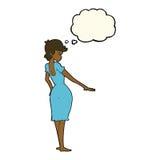 hübsche Frau der Karikatur, die Nägel mit Gedankenblase betrachtet Lizenzfreie Stockfotos
