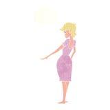 hübsche Frau der Karikatur, die Nägel mit Gedankenblase betrachtet Lizenzfreies Stockfoto