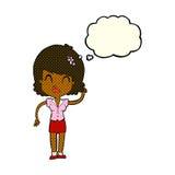 hübsche Frau der Karikatur mit Idee mit Gedankenblase Stockbilder