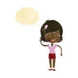 hübsche Frau der Karikatur mit Idee mit Gedankenblase Lizenzfreie Stockfotografie