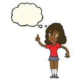 hübsche Frau der Karikatur mit Idee mit Gedankenblase Lizenzfreie Stockfotos