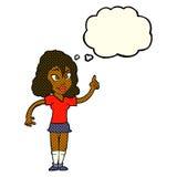 hübsche Frau der Karikatur mit Idee mit Gedankenblase Lizenzfreie Stockbilder