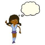 hübsche Frau der Karikatur mit Idee mit Gedankenblase Stockfotos