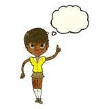 hübsche Frau der Karikatur mit Idee mit Gedankenblase Lizenzfreies Stockfoto