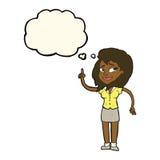 hübsche Frau der Karikatur mit Idee mit Gedankenblase Stockbild