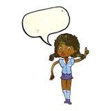hübsche Frau der Karikatur mit Idee mit Spracheblase Stockfoto
