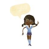 hübsche Frau der Karikatur mit Idee mit Spracheblase Lizenzfreies Stockbild