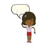 hübsche Frau der Karikatur mit Idee mit Spracheblase Stockbild