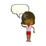 hübsche Frau der Karikatur mit Idee mit Spracheblase Lizenzfreie Stockfotografie