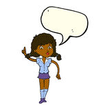 hübsche Frau der Karikatur mit Idee mit Spracheblase Stockbilder